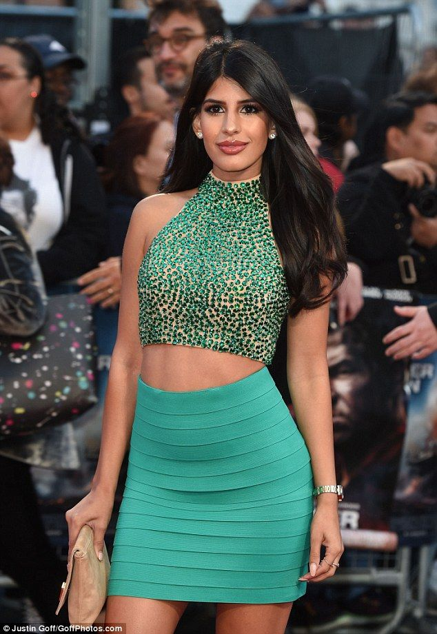 Glitzy: Jasmin showed off her tiny waist and flat stomach in her crystal embellished top