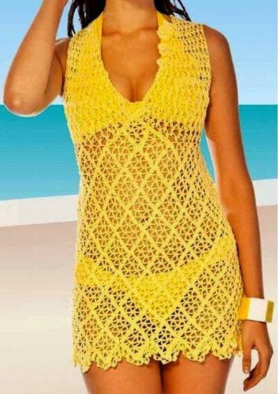 CROCHE COM RECEITA: Saída de praia em croche amarelo ouro