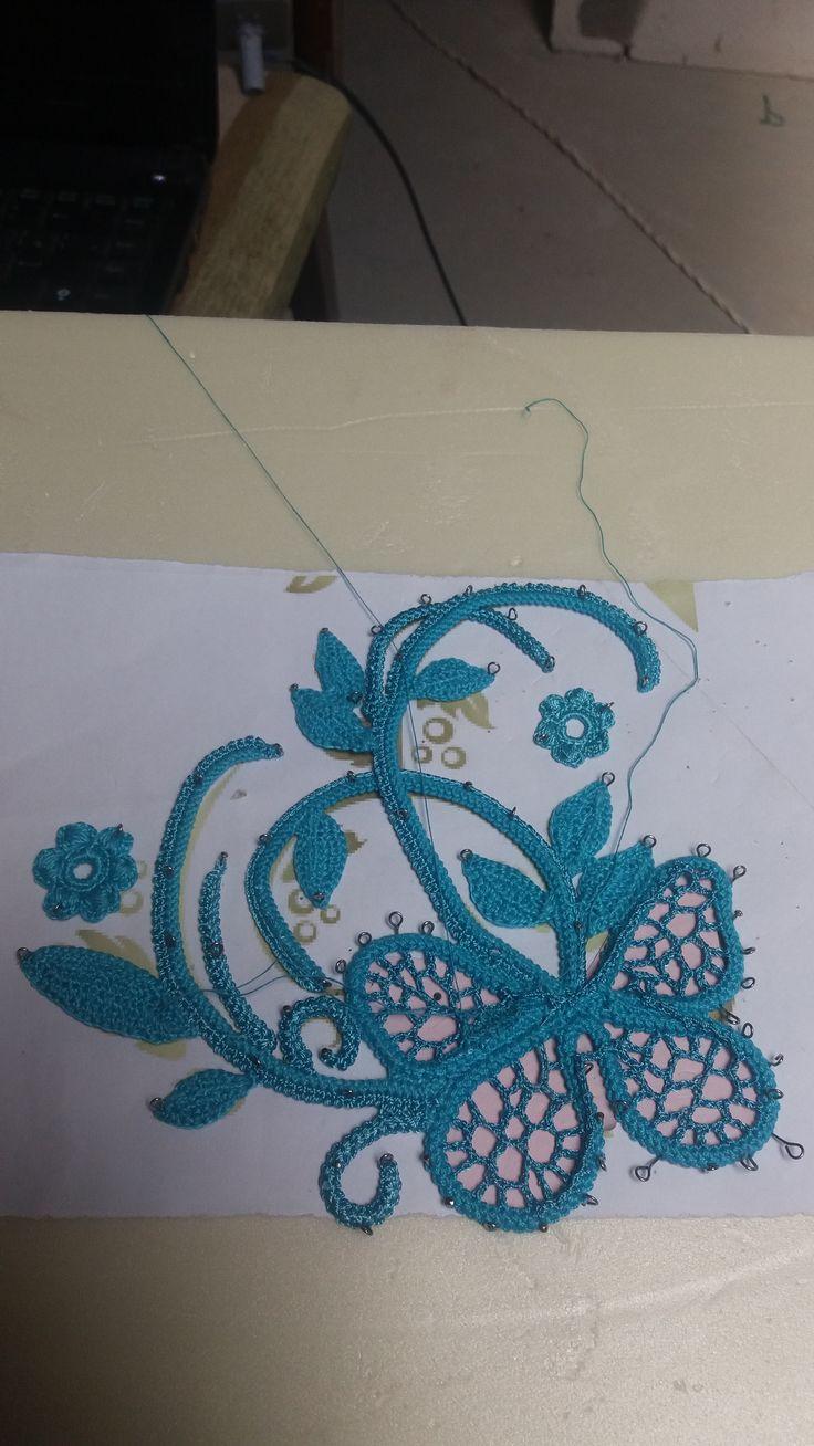 Заполнение бабочки афганской сеточкой. 1 слой.