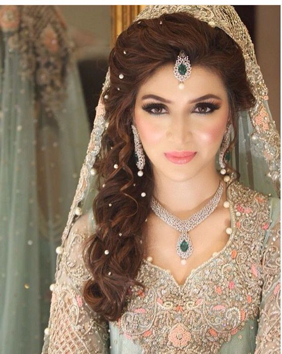 Pakistani Bridal Look: I like the pearls in the hair!                                                                                                                                                                                 More
