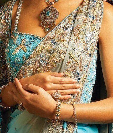 Light blue saree