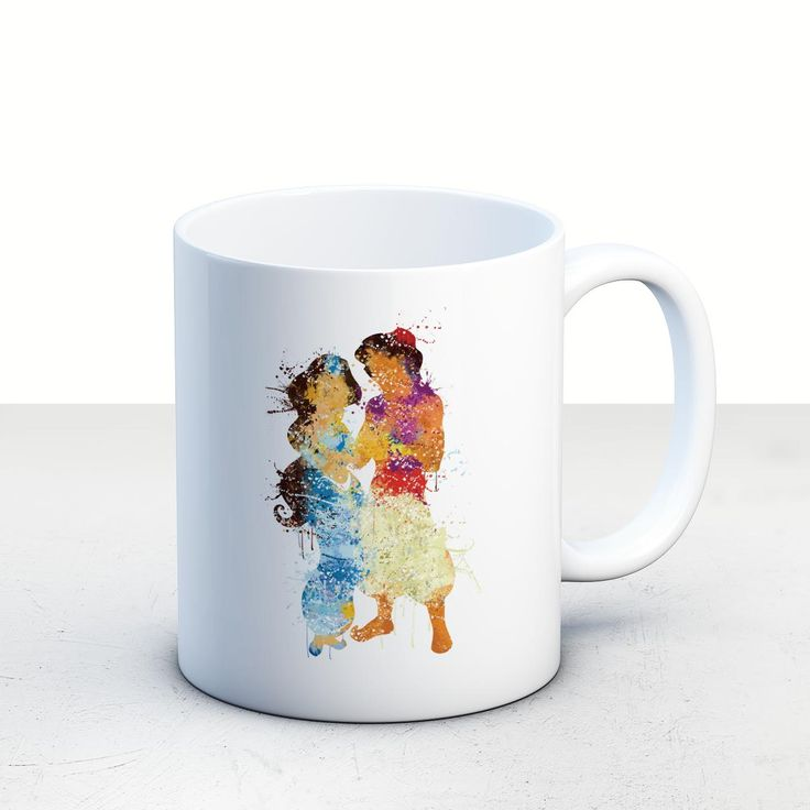 Aladdin and Jasmine Mug, Jasmine Watercolour, Tea mug Art Illustration, Coffee mug Disney Princess, Jasmine and Aladdin wedding, MU67 by artRuss on Etsy