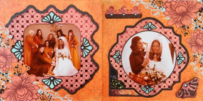 Wedding scrapbook page of the Bride and Bridesmaids - from Me and My Cricut | Wedding Scrapbook 6 | http://meandmycricut.com