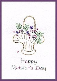 Rosebud Parasol & Victorian Baskets Prick 'n Stitch Card