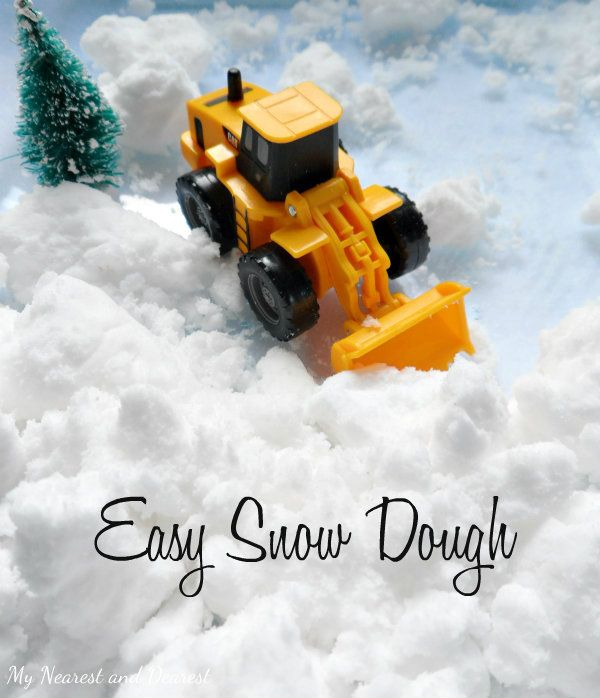 Easy Snow Dough. This stuff is SO cool! Perfect for winter sensory and small world play. My son loved pushing the snow dough around with his trucks!