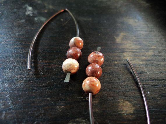 Bird S Eye Rhyolite Bronze Niobium Wire Earrings Marquis Hoop Minimalist Earrings Hand Forged Hypoallergenic Minimalist Earrings Wire Earrings Earrings