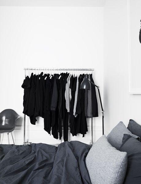 Via Pia Ulin for Elle Decoration | Black Grey White Bedroom