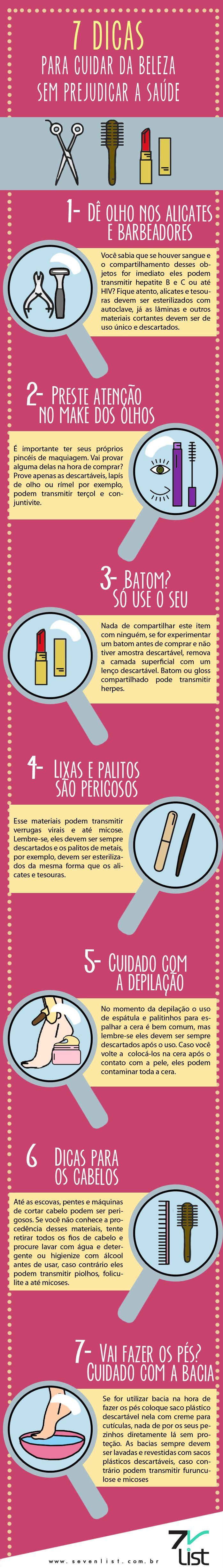 #Infográfico #Infographic #desenho #design #dicas #Beleza #Saúde #Estética #Aparência #Alicete #Barbeador #Doenças #Hepatite #Olhos #Maquiagem #Makeup #Lapís #Rímel #Batom #Gloss #Lixo #Palito #Lixa #Pele #Depilação #Cabelos #Pés #Mãos #Unhas #Higiene www.sevenlist.com.br