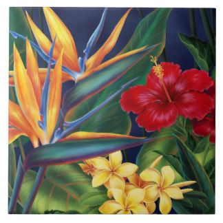 Tropical Paradise Hawaiian Floral Tiles & Trivets