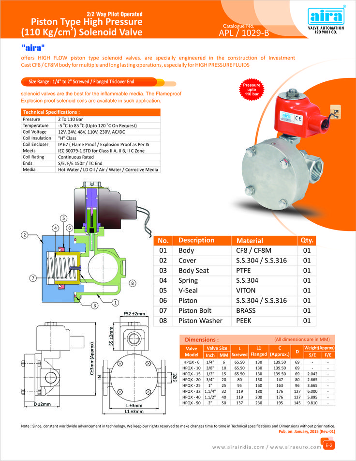 2/2 Way Pilot Operated Piston Type High Pressure (110 Kg
