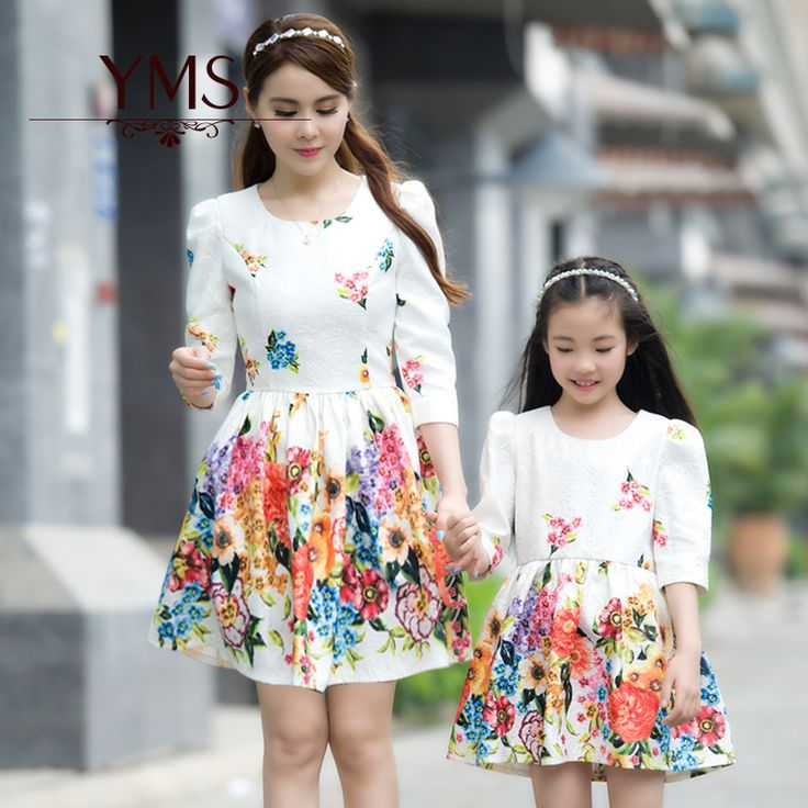 Cheap 2016 de lujo del verano estilo familia de ropa de moda chicas manga tres cuartos imprimir princesa vestidos madre e hija ropa, Compro Calidad Family Matching Outfits directamente de los surtidores de China:   2016 summer style family fashion mother and daughter casual cotton t shirts and polka dot skirts clothing sets dresses
