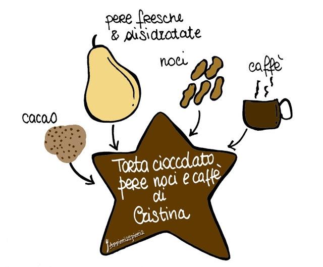 Torta cioccolato, pere, noci e caffè di Cristina