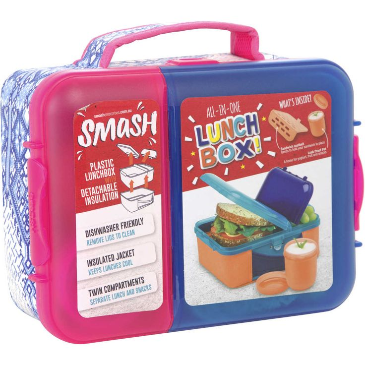 Smash's All-In-One Lunch Box is perfect for back to school with it's cool design and functionality. The plastic lunch box sits inside a detachable insulation pack, conveniently created so you're able to wash the exterior and interior separately. It's twin compartments assist with separating lunch with snacks. Featuring a