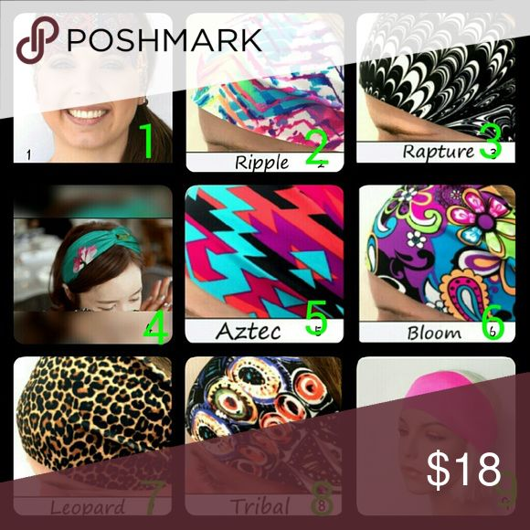 Mix & Match Spandex Headbands (Group 2) NWOT!  These stretchy headbands are perfect for sports, workouts, or just looking fabulous.  - Stretch to fit so 1 size fits most adults and youth - Approx. 4 inches wide in front & 1 inch in back  - Made from non-fraying, raw edge, single ply Spandex (EXCEPT FOR #4 which is a satin twisted knot!) Don't purchase from this listing unless you want all of these. Just tell me which ones you want & I'll make a bundle for you.  Prices are: 3 for $9, 4 for…