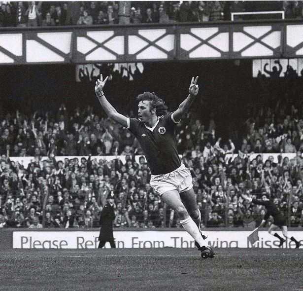 Andy King celebrates scoring for Everton against Chelsea in 1978.