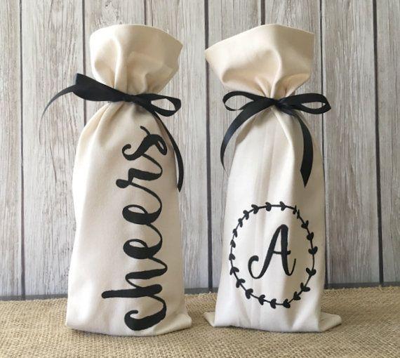 DIY Kit - Create your own Wine Gift Bag - Linen Wine Bag - Cheers Wine Bag…