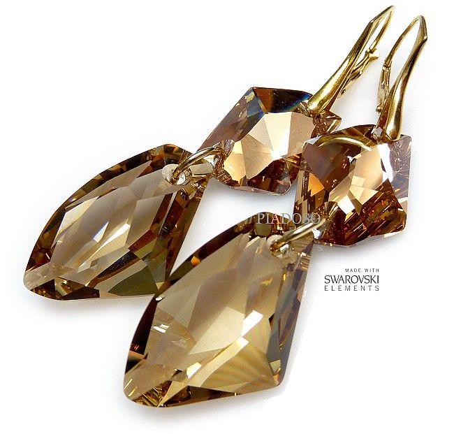Piękne kolczyki z oryginalnymi kryształami Swarovskiego na złotym srebrze: Golden Cosmo.