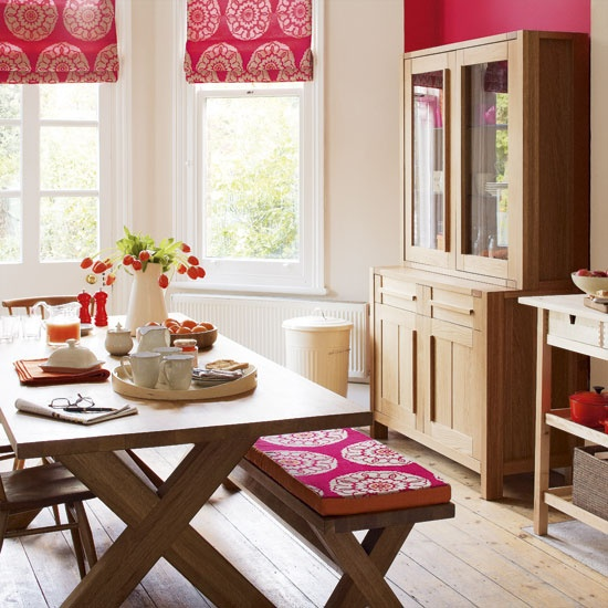 Window Treatments: Dining Rooms, Romans Blinds, Dining Area, Benches, Romans Shades, Kitchens Tables, Kitchens Nooks, Pink Kitchens, Window Treatments