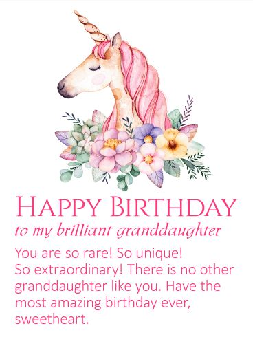 25 best birthday cards for granddaughter images on pinterest happy to my brilliant granddaughter happy birthday wishes card an elegant unicorn has come to bookmarktalkfo Gallery