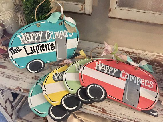 9x13 happy campers sign  - RV door sign - pull behind camper sign - happy campers wooden sign  hippie  camper sign - travel trailer sign