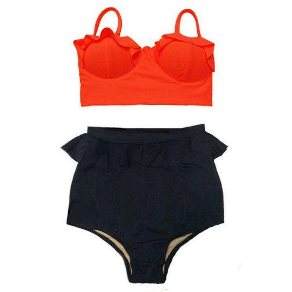 Women Wemens Swimsuit Bikini Orange Midkini Top and Black Peplum Retro... (345 NOK) ❤ liked on Polyvore featuring swimwear, bikinis, grey, women's clothing, high-waisted bathing suits, vintage bathing suits, retro swimsuit, vintage high waisted swimsuits and retro high waisted bikini
