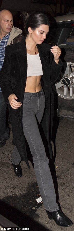 Kendall Jenner flashes her midriff and underboob in NYC | Daily Mail Online #kendalljenneroutfits