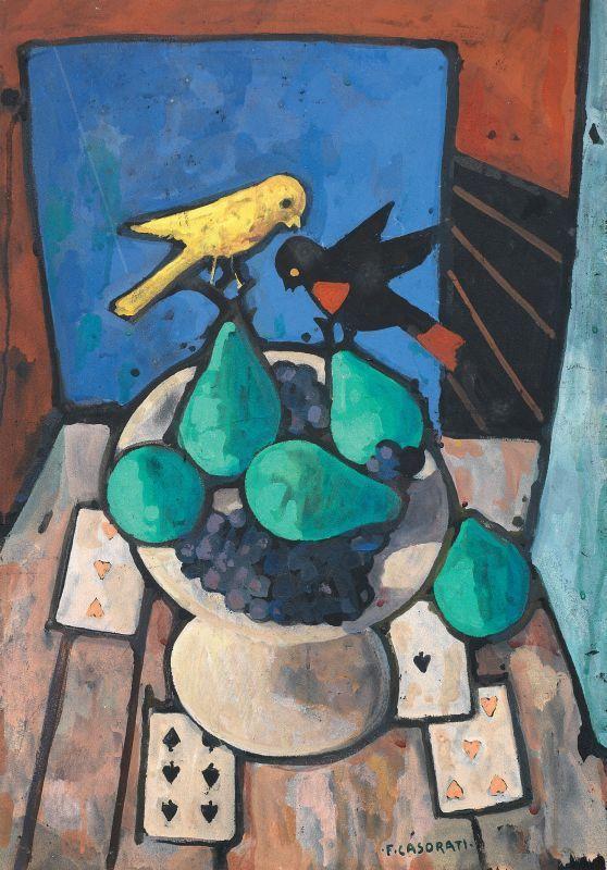 Felice Casorati - Natura morta con due uccellini - Tempera su cartone - cm. 65x45