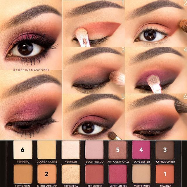 I have to show some love to the @anastasiabeverlyhills Modern Renaissance palette! ❤️ These are some of my favorite eyeshadow colors, so I combined orange and berry for the fun smokey eye in today's tutorial! To start, I primed my lids and set them with an eyeshadow one shade lighter than my skin tone. 1. With a flat shader brush (this is from the /zoevacosmetics/ Rose Golden set), I applied Realgar in a winged shape, starting in the outer corner and sweeping it toward the inner corner. I…