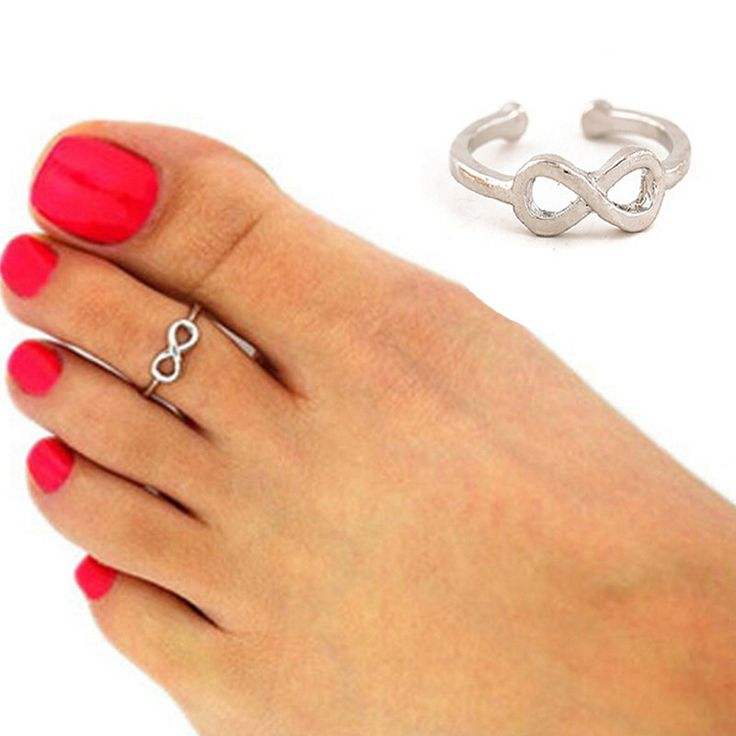 2016 Fashion Europe Style Punk Celebrity Fashion Simple Gold Silver Retro Infinity Design Adjustable Toe Ring Beach Foot Jewelry