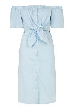Poplin Bow Bardot Midi Dress