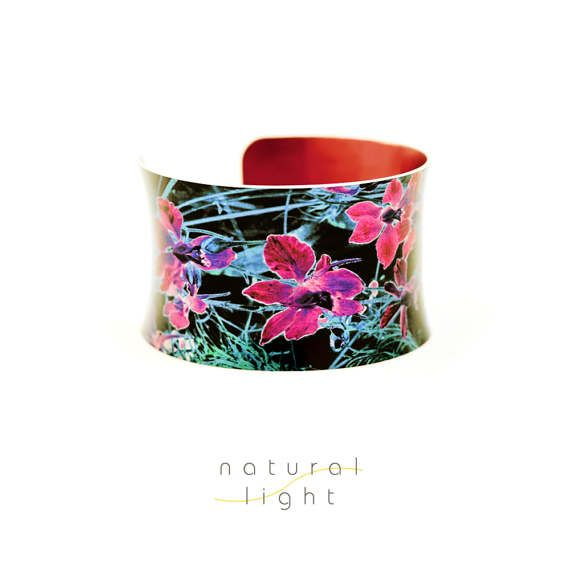 Floral Bangle Cuff Bracelet Abstract Jewellery Midnight