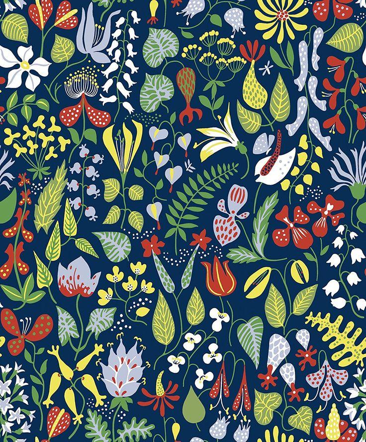 Boråstapeter WV2744 Navy Floral Motif Wallpaper - - Amazon.com