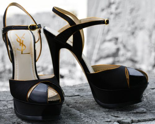 OOOO, so yummy- if their is a bride out there planning to wear one of Vera Wang's new black wedding dresses, she MUST buy these to go with, #YSL haute gam glam!
