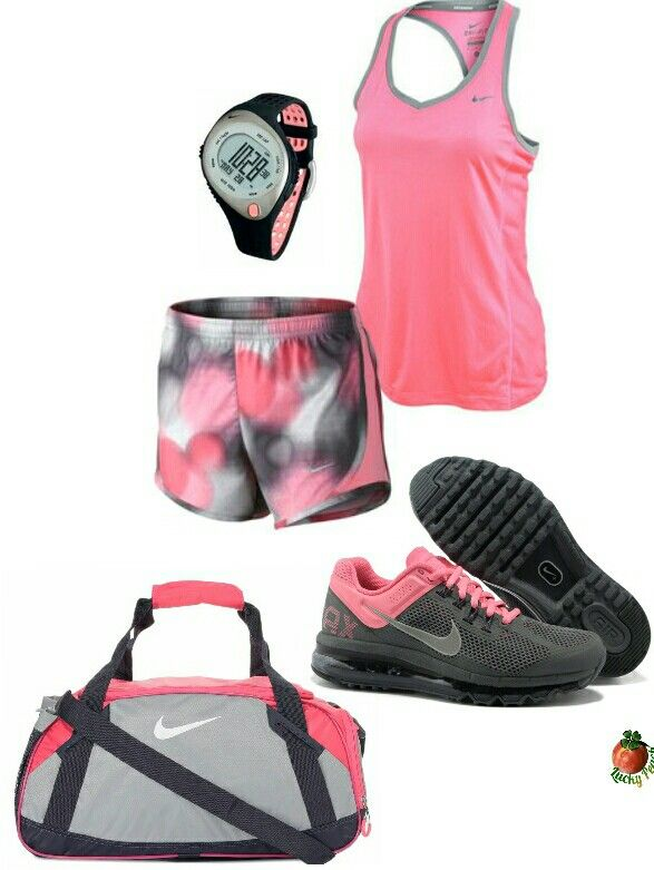 Womens fashion Pink and black nike gym outfit