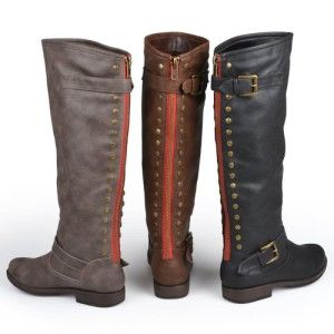 Brinley Co. Wide-Calf Knee-High Studded Riding Boots with Red Zippers