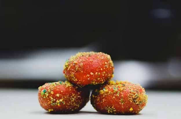 Now, though? Behold their newest creation: Cap'n Crunch Donut Holes: | Taco Bell Is Now Selling Cap'n Crunch Donuts And They Look Insane