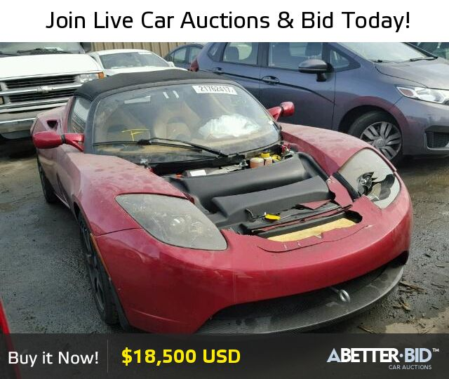 Salvage  2010 TESLA TESLA for Sale - 5YJRE1A37A1000715 - https://abetter.bid/en/21762417-2010-tesla-roadster