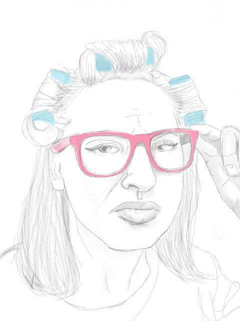 Selfporttrait by kramstedt, pink hipster glasses sketch
