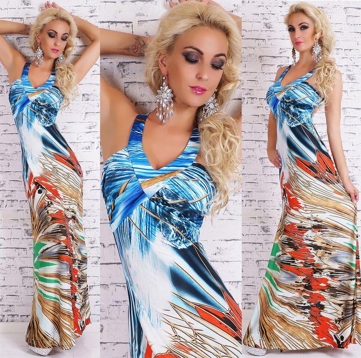 Backless Jungle Maxi Dress in blue