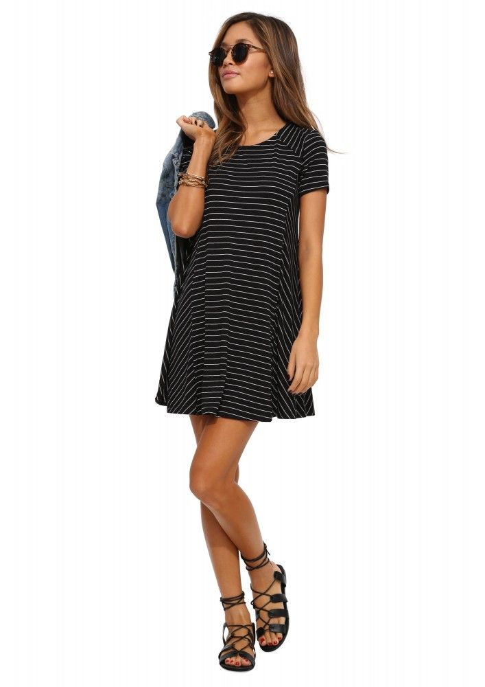 Lush Striped T-Shirt Dress in Black | Necessary Clothing