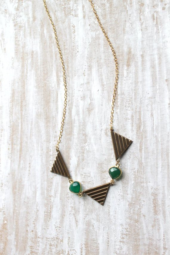 Brass Triangle and Emerald green onyx NecklaceGeometric by NHjewel, $52.00