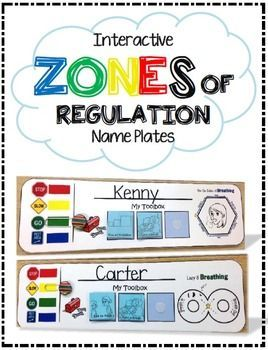 Interactive ZONES of Regulation Package - Name Plates, Bookmarks, and MORE! $ Self-Regulation Package Special Education