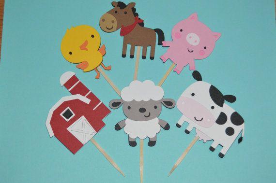 Farm Animal Cupcake Toppers 24 Barnyard Animals  by DiecutsGalore