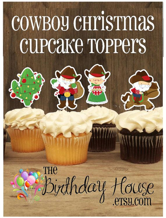 Cowboy Christmas Party Ideas Part - 19: Cowboy Christmas Party - Assorted Cowboy Christmas Double Sided Holiday  Cupcake Toppers By The Birthday House