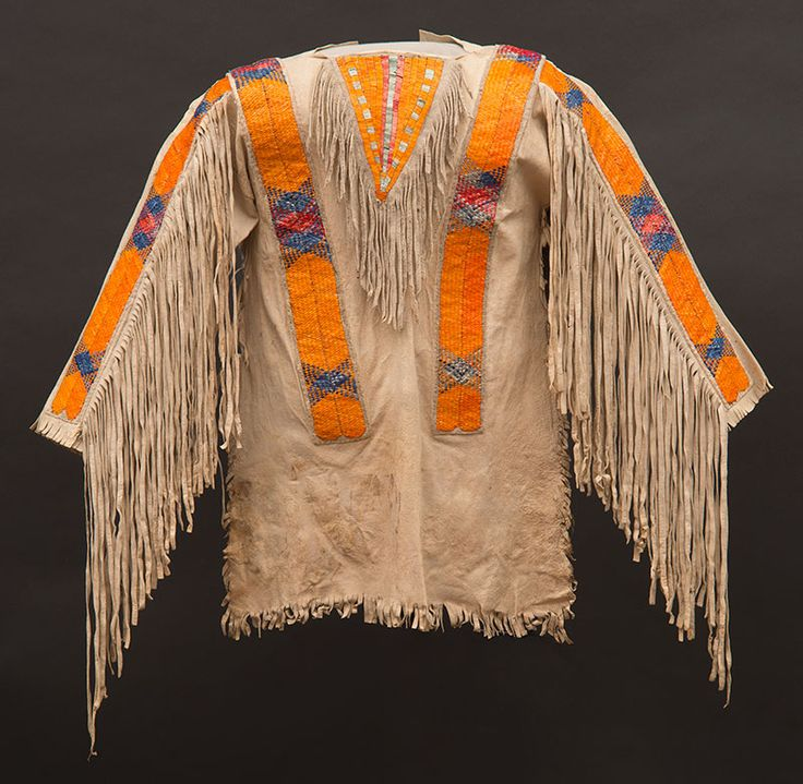 Hidatsa Boys Tanned Hide Shirt With Porcupine Quill