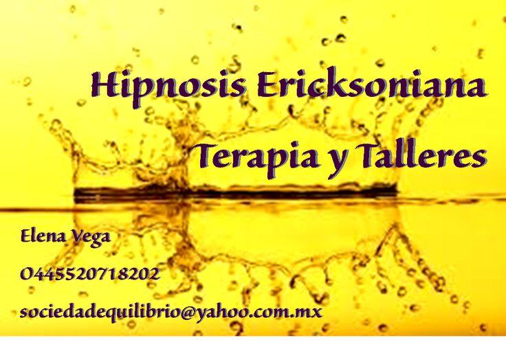 La hipnosis Ericksoniana es un estilo de terapia, en la que se centra la atención en las soluciones, en el futuro y se basa en el principio del placer, puede ser sorpresiva, relajante y actúa de manera rápida.Celular: 0445520718202 Lic. En Psicología Elena Vega.