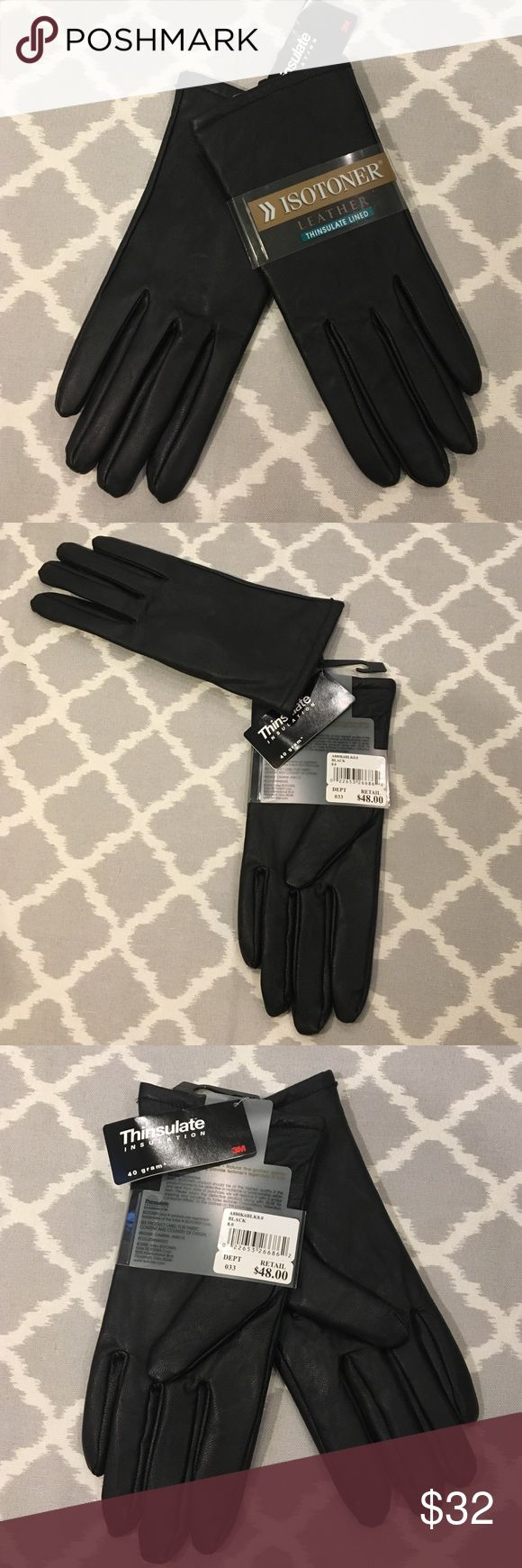 Isotoner womens leather gloves with fleece lining - Isotoner Black Leather Thinsulate Lined Gloves Nwt