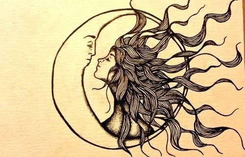 The moon loved the sun so much, he died every morning just to let her breath.