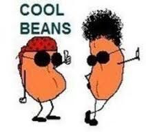 cool beans- A slang term popularized by the pop culture. Used to describe something very favorable, pleasing, Great or very nice.