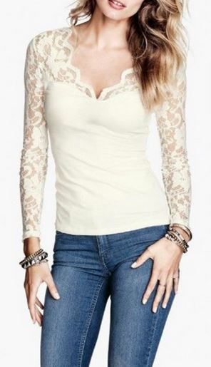 Denim + Lace! Love this Top! Sexy White Lace Long Sleeve Top #Sexy #White #Lace #Fashion